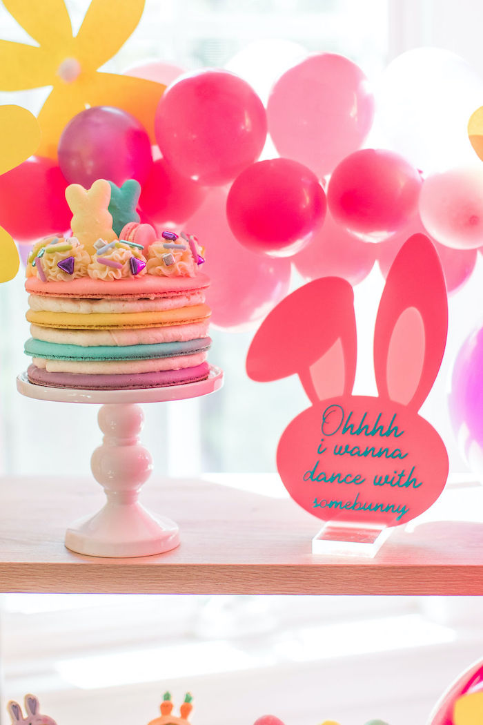 "Easter Cake + Signage from an ""Ohhh I Wanna Dance With Somebunny"" 80's Pop Star Easter Party on Kara's Party Ideas 
