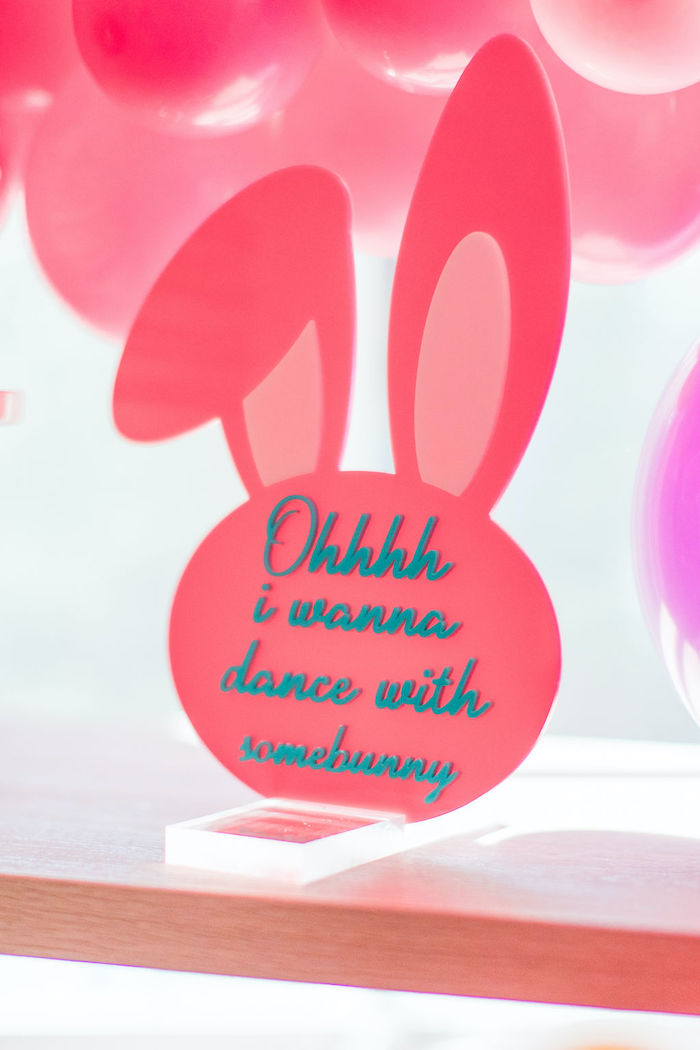 "Bunny-shaped ""Ohhh I Wanna Dance With Somebunny"" Sign from an ""Ohhh I Wanna Dance With Somebunny"" 80's Pop Star Easter Party on Kara's Party Ideas 