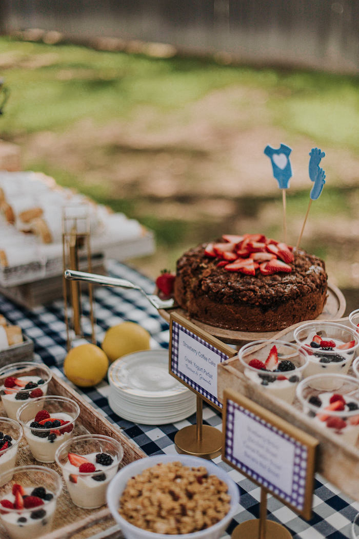 Dessert Table from a Backyard Blue and Navy Baby Shower Brunch on Kara's Party Ideas | (13)