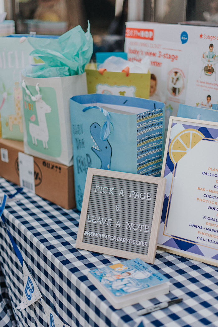 Gift Table from a Backyard Blue and Navy Baby Shower Brunch on Kara's Party Ideas | (12)