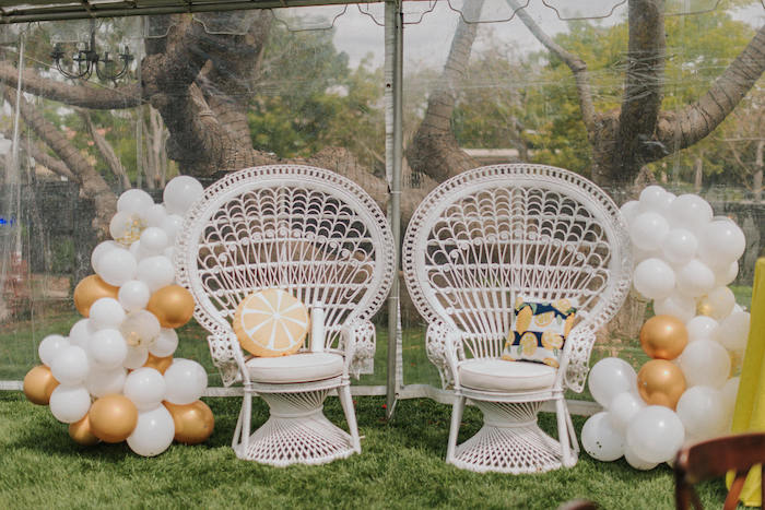 White Peacock Chairs from a Backyard Blue and Navy Baby Shower Brunch on Kara's Party Ideas | (11)