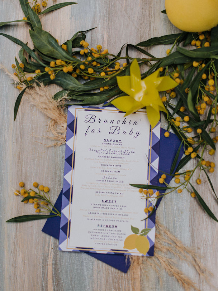 Blue Gingham Brunch Menu from a Backyard Blue and Navy Baby Shower Brunch on Kara's Party Ideas | (9)