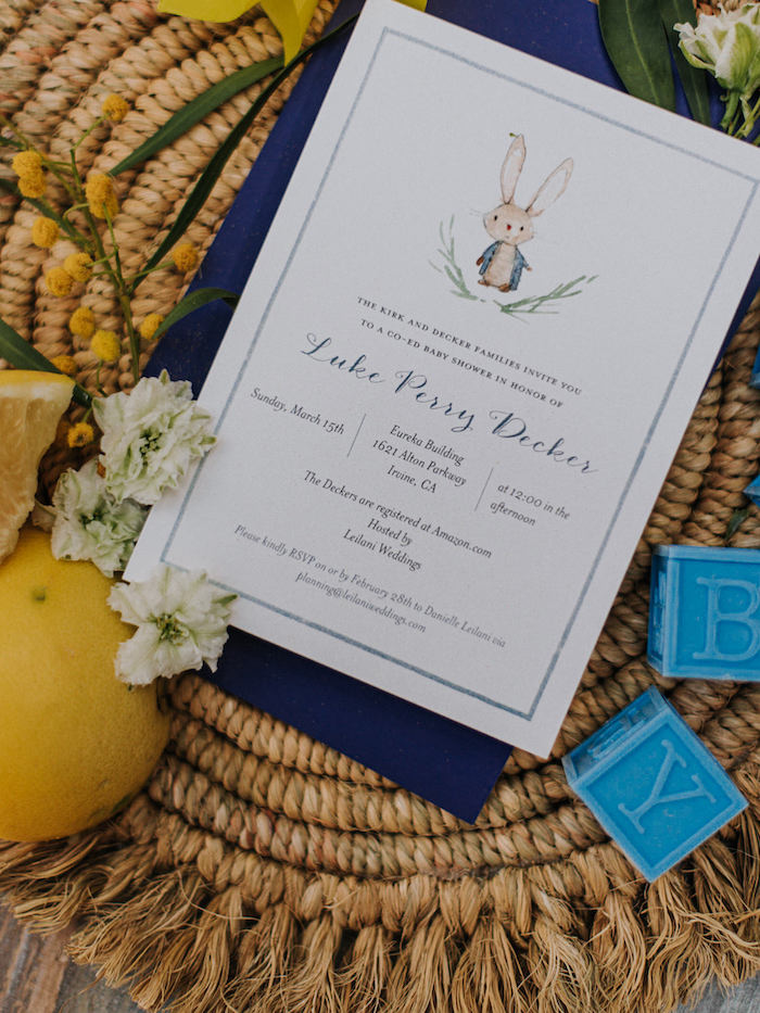 Baby Shower Invite from a Backyard Blue and Navy Baby Shower Brunch on Kara's Party Ideas | (8)