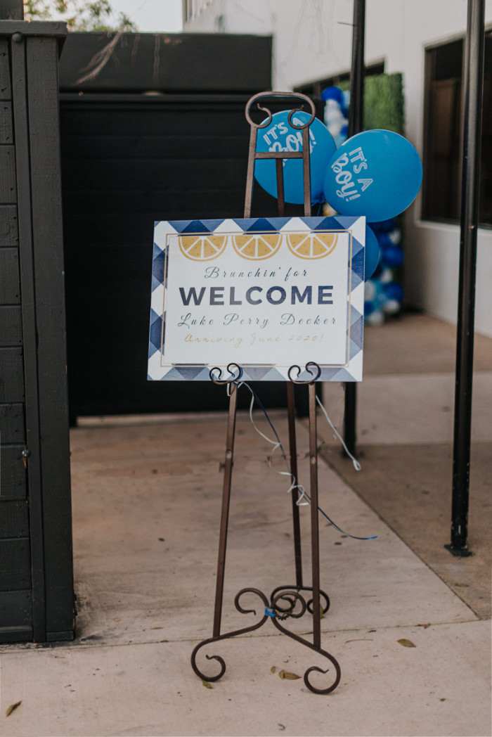 Welcome Sign from a Backyard Blue and Navy Baby Shower Brunch on Kara's Party Ideas | (5)