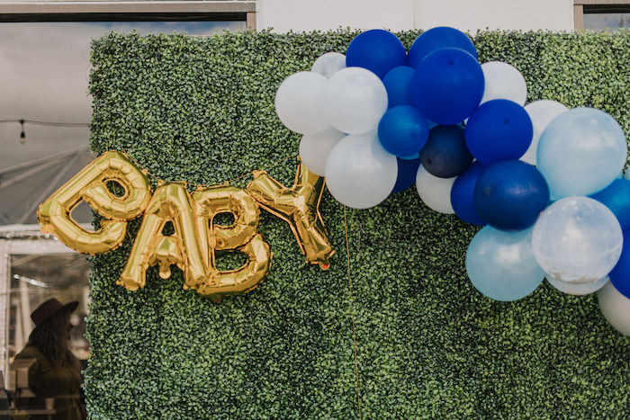 BABY Balloon Banner from a Backyard Blue and Navy Baby Shower Brunch on Kara's Party Ideas | (4)