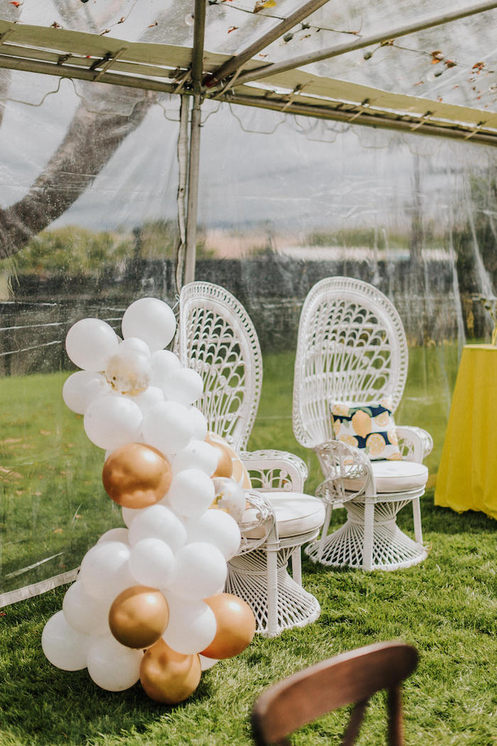White Peacock Chairs + Balloon Install from a Backyard Blue and Navy Baby Shower Brunch on Kara's Party Ideas | (21)