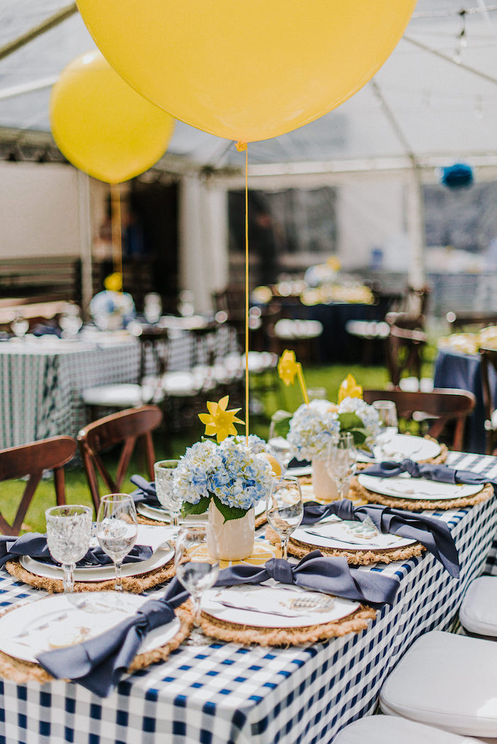 Blue Gingham Guest Table from a Backyard Blue and Navy Baby Shower Brunch on Kara's Party Ideas | (19)
