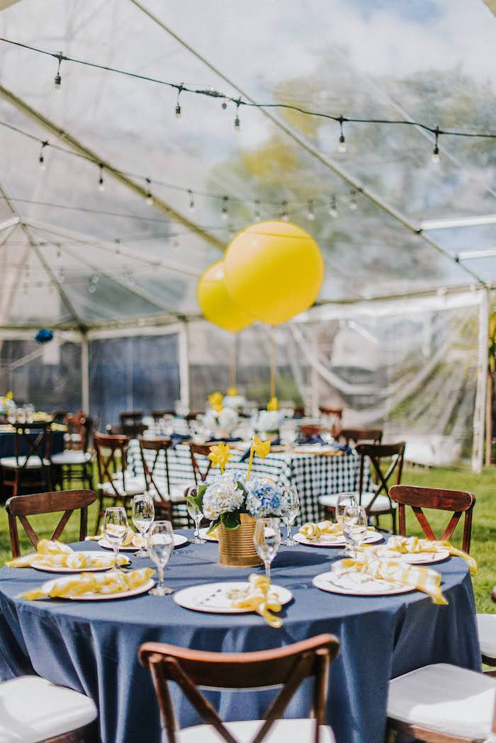Navy + Yellow Guest Table from a Backyard Blue and Navy Baby Shower Brunch on Kara's Party Ideas | (18)