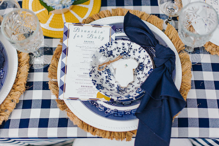Blue Gingham Table Setting from a Backyard Blue and Navy Baby Shower Brunch on Kara's Party Ideas | (17)