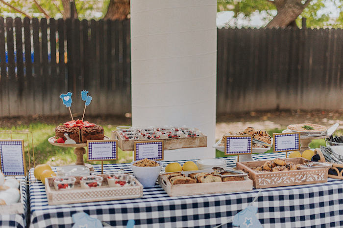 Dessert Table from a Backyard Blue and Navy Baby Shower Brunch on Kara's Party Ideas | (14)