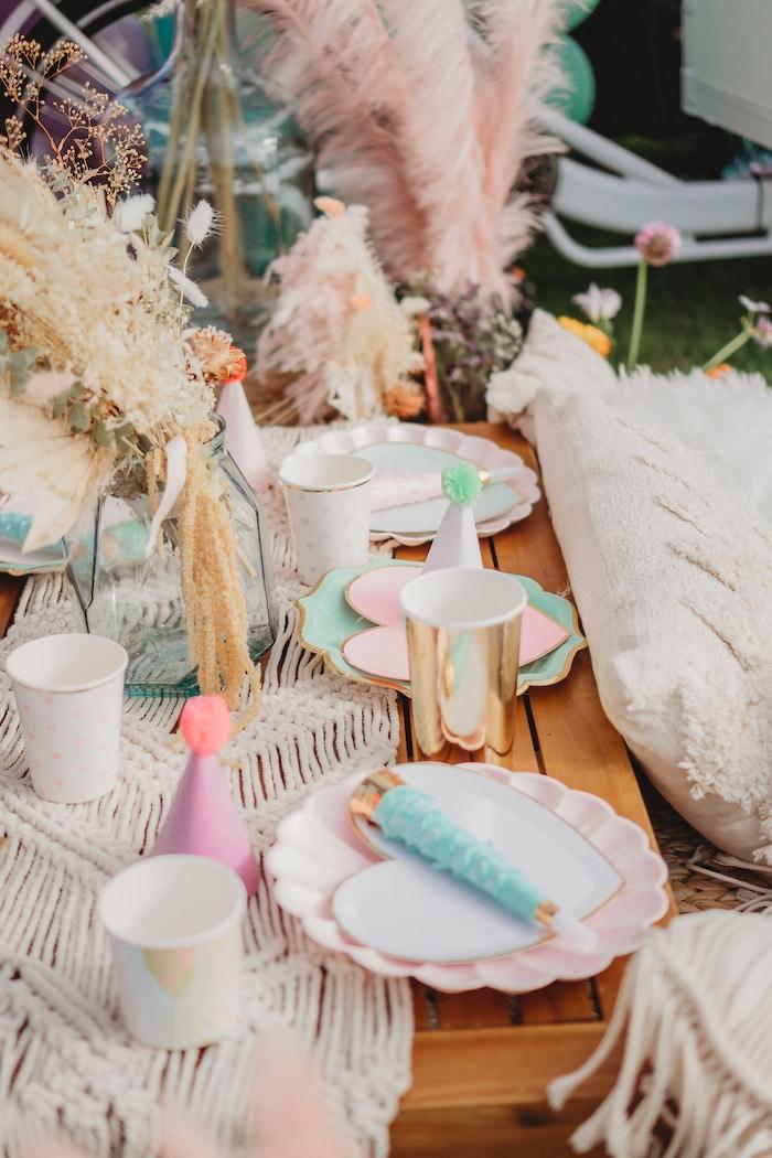 Boho Love Guest Table from a Boho Mermaid Party on Kara's Party Ideas | KarasPartyIdeas.com (21)