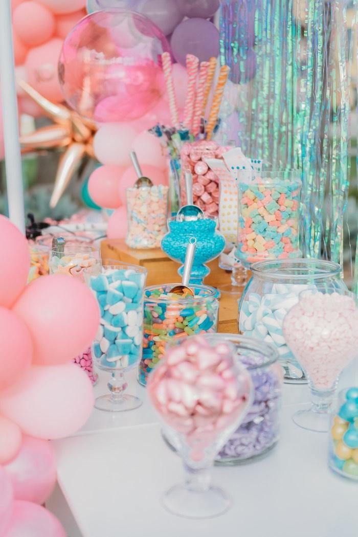 Candy Buffet from a Boho Mermaid Party on Kara's Party Ideas | KarasPartyIdeas.com (18)