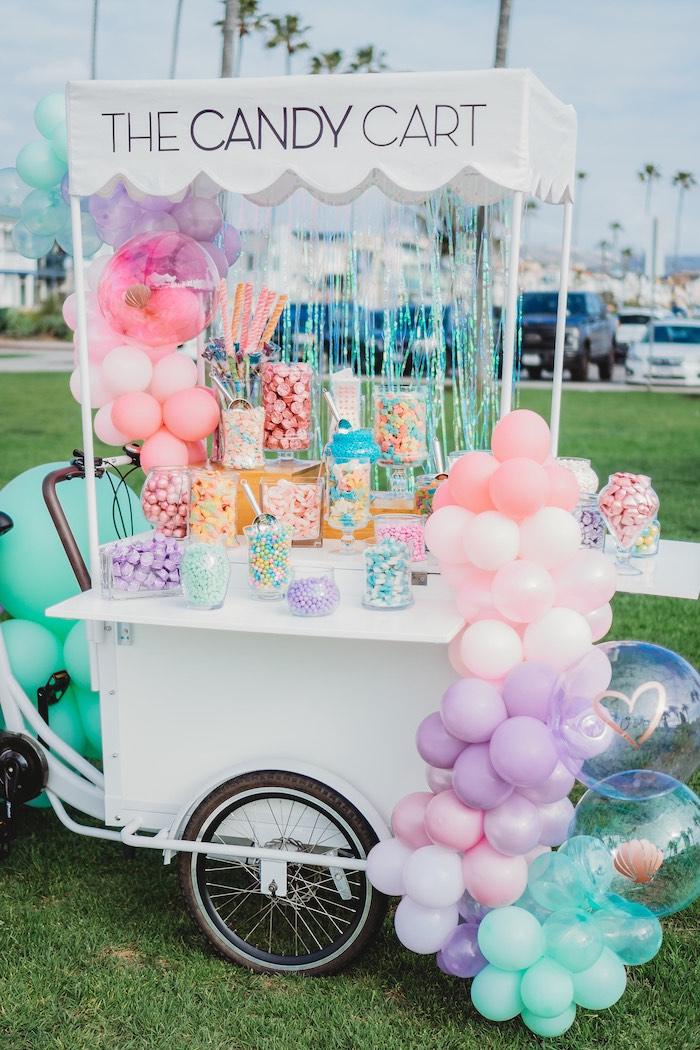 Balloon-adorned Candy Cart from a Boho Mermaid Party on Kara's Party Ideas | KarasPartyIdeas.com (17)