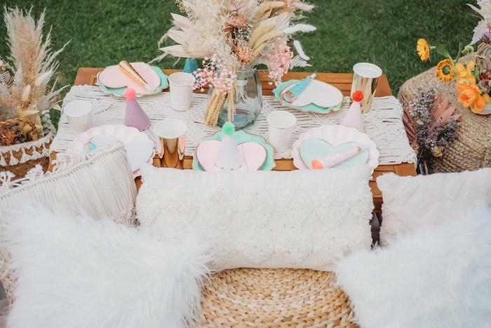 Boho Love Guest Table from a Boho Mermaid Party on Kara's Party Ideas | KarasPartyIdeas.com (6)