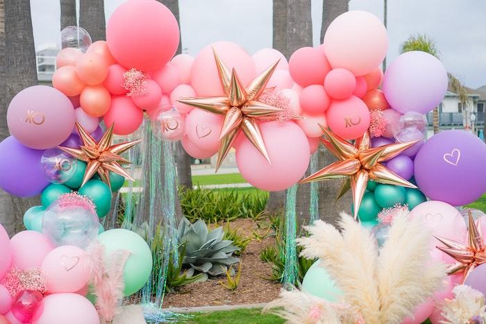Boho Mermaid Balloon Arch from a Boho Mermaid Party on Kara's Party Ideas | KarasPartyIdeas.com (4)
