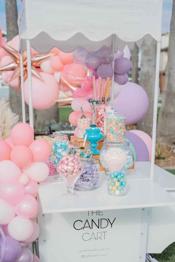 Balloon-adorned Candy Buffet Cart from a Boho Mermaid Party on Kara's Party Ideas | KarasPartyIdeas.com (27)