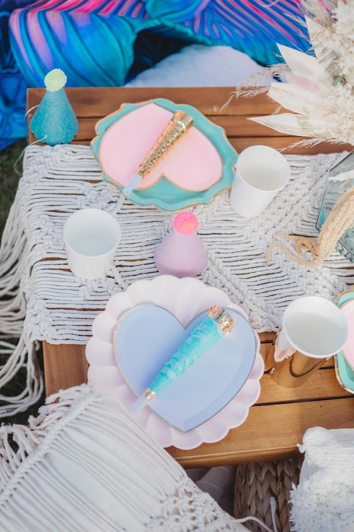 Boho Heart Table Settings from a Boho Mermaid Party on Kara's Party Ideas | KarasPartyIdeas.com (25)