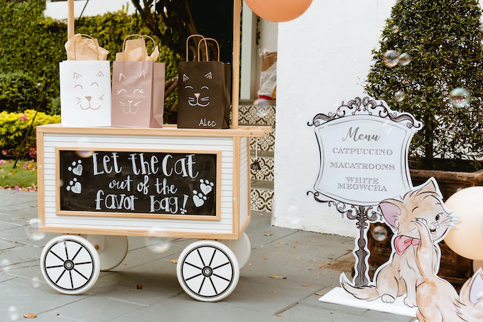 Cat Face Favor Bags + Chalkboard Favor Cart from a Boho Parisian Cat Cafe Birthday Party on Kara's Party Ideas | KarasPartyIdeas.com (18)