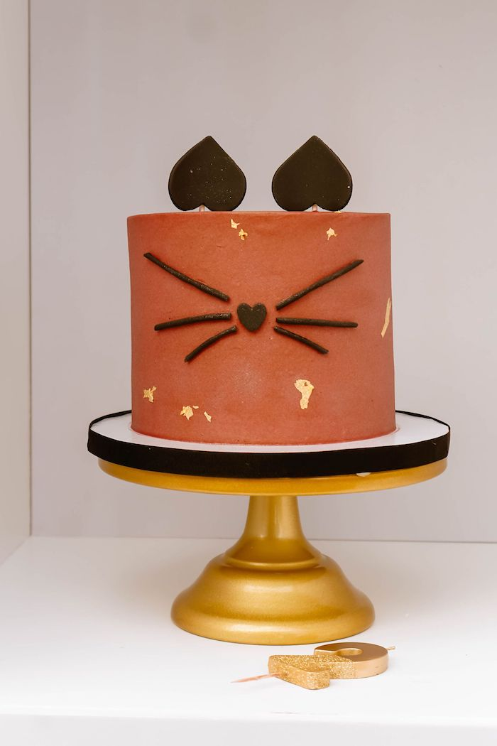 Cat Face Cake from a Boho Parisian Cat Cafe Birthday Party on Kara's Party Ideas | KarasPartyIdeas.com (16)