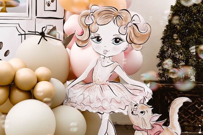 Custom Ballerina Standee from a Boho Parisian Cat Cafe Birthday Party on Kara's Party Ideas | KarasPartyIdeas.com (13)