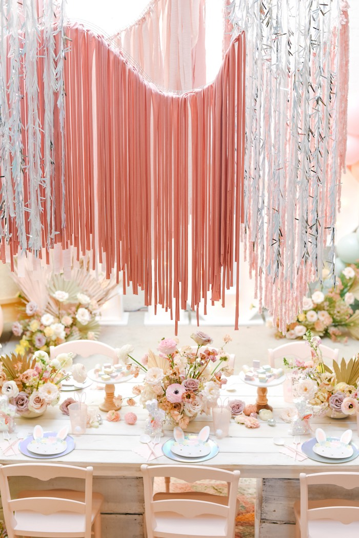 Boho Easter Guest Table from a Boho Pastel Easter Party on Kara's Party Ideas | KarasPartyIdeas.com (45)