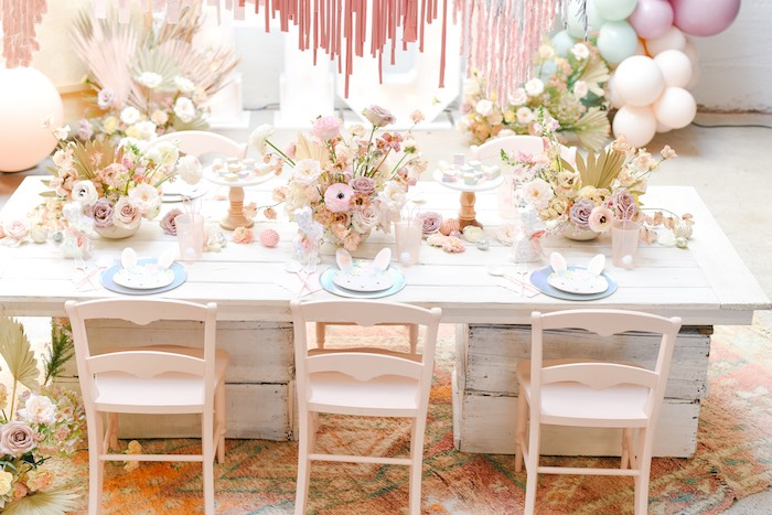 Boho Easter Guest Table from a Boho Pastel Easter Party on Kara's Party Ideas | KarasPartyIdeas.com (44)