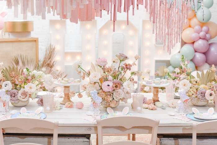 Boho Easter Guest Table from a Boho Pastel Easter Party on Kara's Party Ideas | KarasPartyIdeas.com (42)