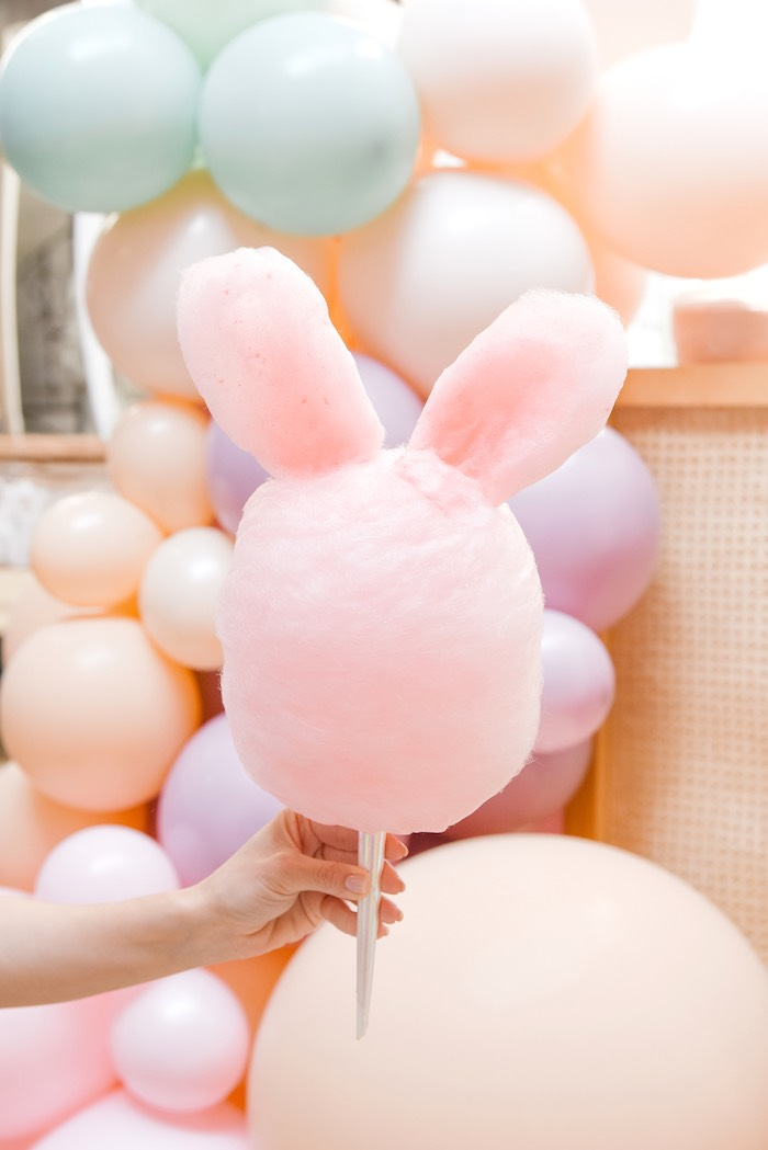 Cotton Candy Bunny from a Boho Pastel Easter Party on Kara's Party Ideas | KarasPartyIdeas.com (39)
