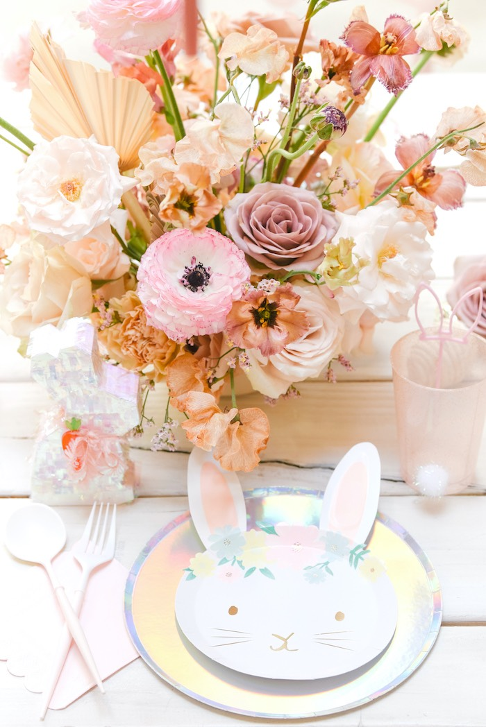 Boho Bunny-inspired Table Setting from a Boho Pastel Easter Party on Kara's Party Ideas | KarasPartyIdeas.com (38)