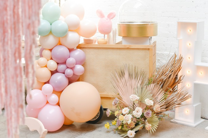 Boho Easter Cotton Candy Cart from a Boho Pastel Easter Party on Kara's Party Ideas | KarasPartyIdeas.com (37)