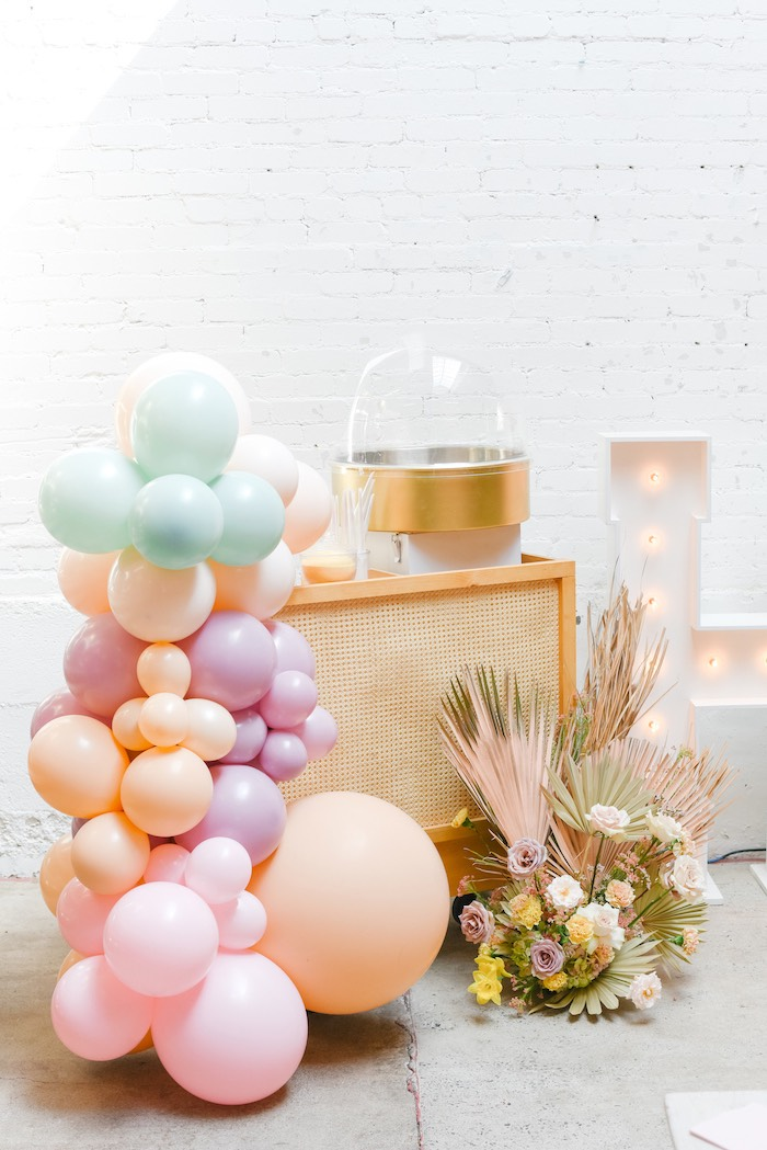 Boho Easter Cotton Candy Cart from a Boho Pastel Easter Party on Kara's Party Ideas | KarasPartyIdeas.com (54)