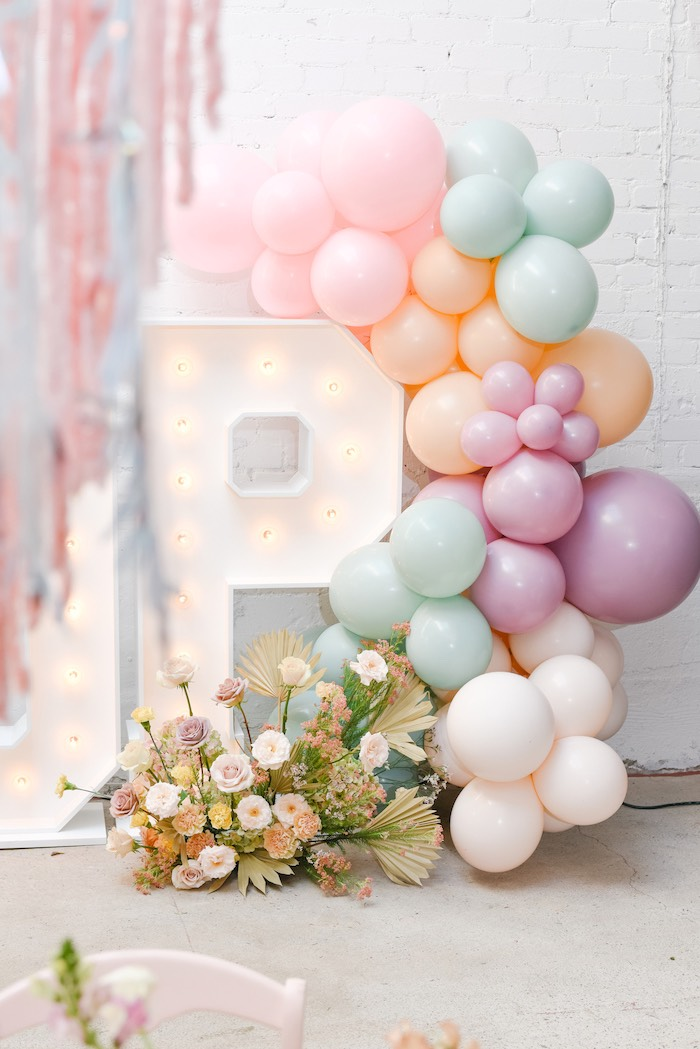 Pastel Color Block Balloon Garland from a Boho Pastel Easter Party on Kara's Party Ideas | KarasPartyIdeas.com (34)