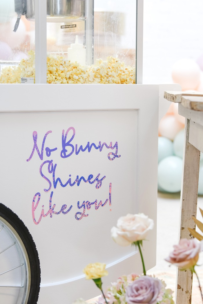 No Bunny Shines Like You! Popcorn Cart from a Boho Pastel Easter Party on Kara's Party Ideas | KarasPartyIdeas.com (23)