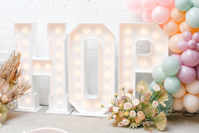 HOP Marquee Lights from a Boho Pastel Easter Party on Kara's Party Ideas | KarasPartyIdeas.com (52)