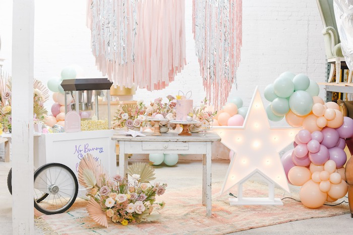 Easter Popcorn Cart + Cake Table from a Boho Pastel Easter Party on Kara's Party Ideas | KarasPartyIdeas.com (15)