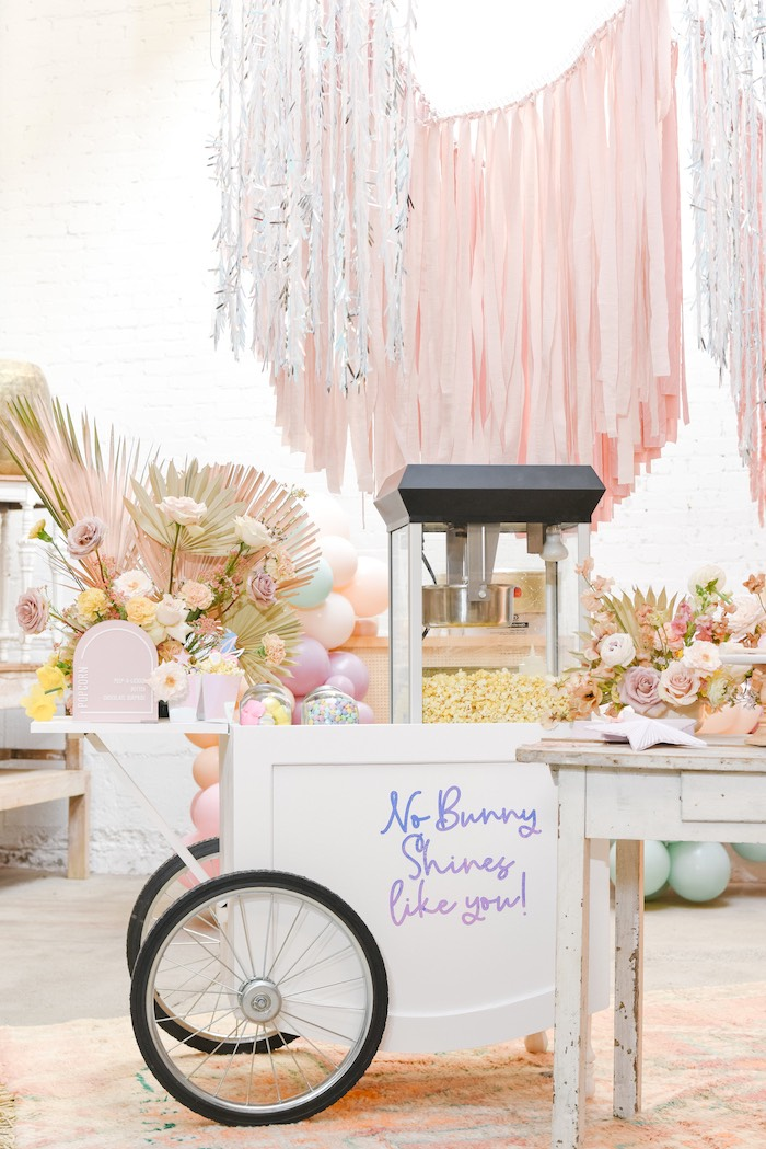 Easter Popcorn Cart from a Boho Pastel Easter Party on Kara's Party Ideas | KarasPartyIdeas.com (14)