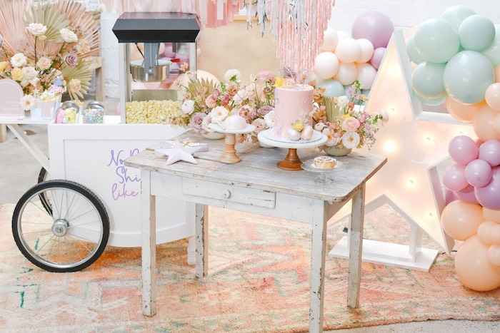 Easter Cake Table from a Boho Pastel Easter Party on Kara's Party Ideas | KarasPartyIdeas.com (13)