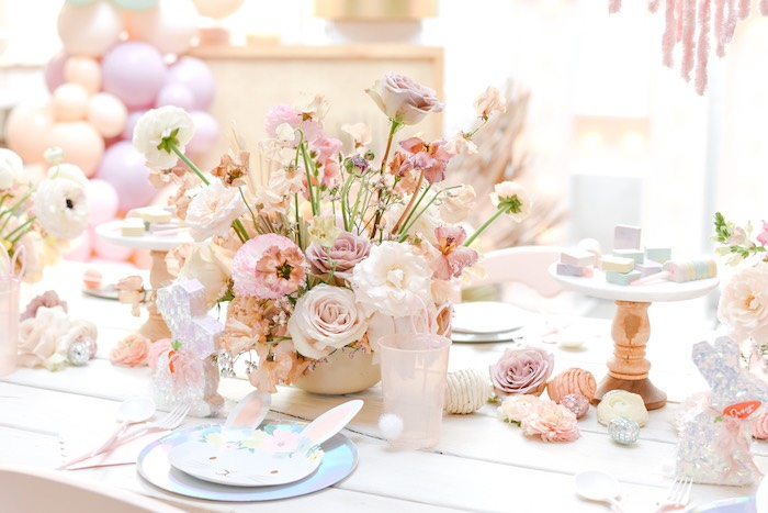 Boho Easter Guest Table from a Boho Pastel Easter Party on Kara's Party Ideas | KarasPartyIdeas.com (50)