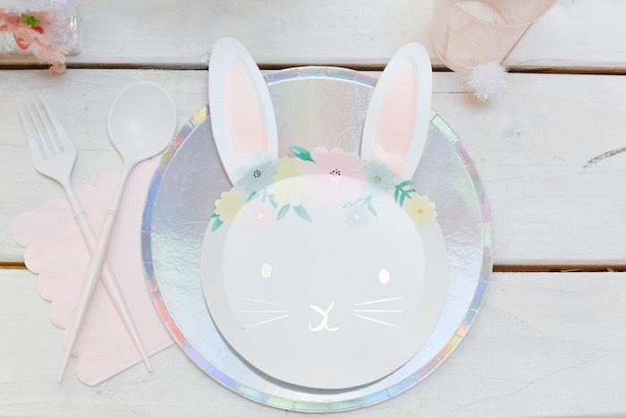 Shiny Boho Bunny Table Setting from a Boho Pastel Easter Party on Kara's Party Ideas | KarasPartyIdeas.com (48)