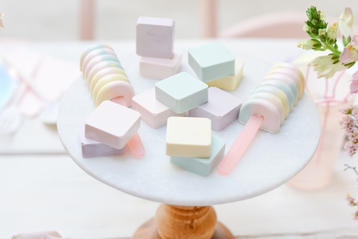 Pastel Dessert Blocks from a Boho Pastel Easter Party on Kara's Party Ideas | KarasPartyIdeas.com (47)