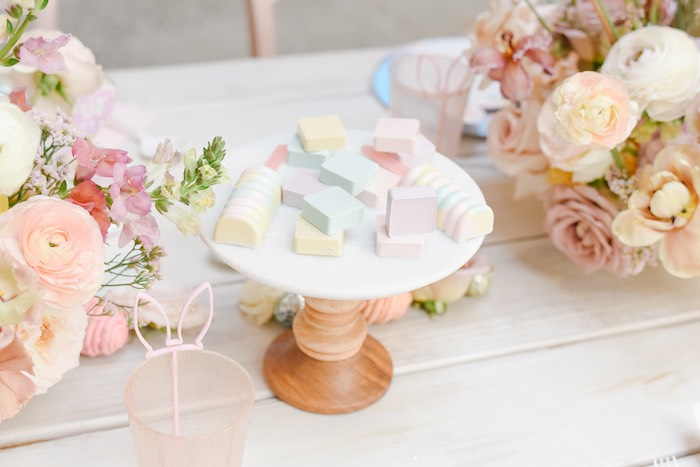 Pastel Candy Dessert Platter from a Boho Pastel Easter Party on Kara's Party Ideas | KarasPartyIdeas.com (46)