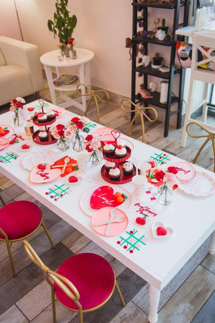Valentine's Day Guest Table from a Cherry Love Party on Kara's Party Ideas | KarasPartyIdeas.com (17)