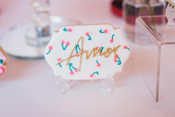 Cherry Amor Cookie from a Cherry Love Party on Kara's Party Ideas | KarasPartyIdeas.com (16)