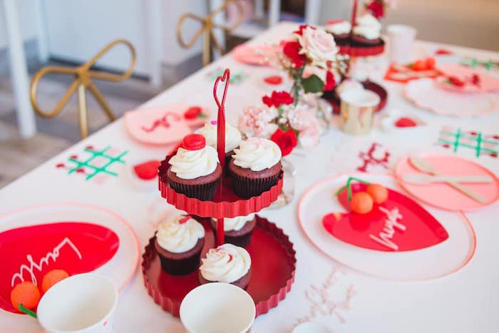 Cupcakes + Guest Table from a Cherry Love Party on Kara's Party Ideas | KarasPartyIdeas.com (15)