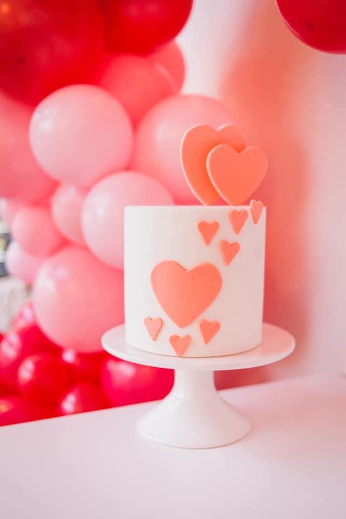 Heart Cake from a Cherry Love Party on Kara's Party Ideas | KarasPartyIdeas.com (13)