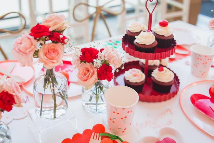 Cupcakes + Guest Table from a Cherry Love Party on Kara's Party Ideas | KarasPartyIdeas.com (12)