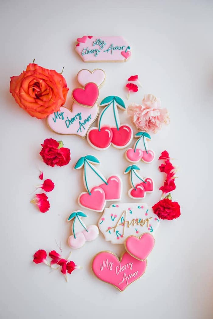 Cherry Love Cookies from a Cherry Love Party on Kara's Party Ideas | KarasPartyIdeas.com (27)