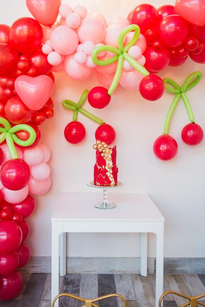 Cherry Love Cake Table from a Cherry Love Party on Kara's Party Ideas | KarasPartyIdeas.com (8)