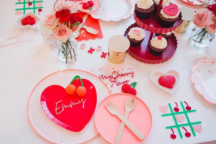 Valentine's Day Table Setting from a Cherry Love Party on Kara's Party Ideas | KarasPartyIdeas.com (7)