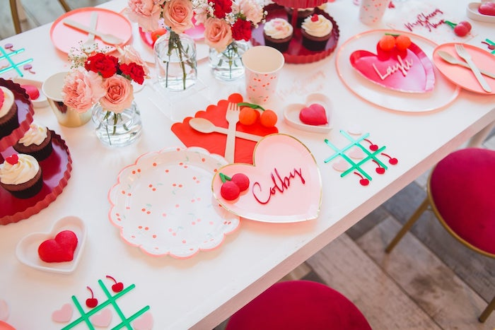 Valentine's Day Table Setting from a Cherry Love Party on Kara's Party Ideas | KarasPartyIdeas.com (6)